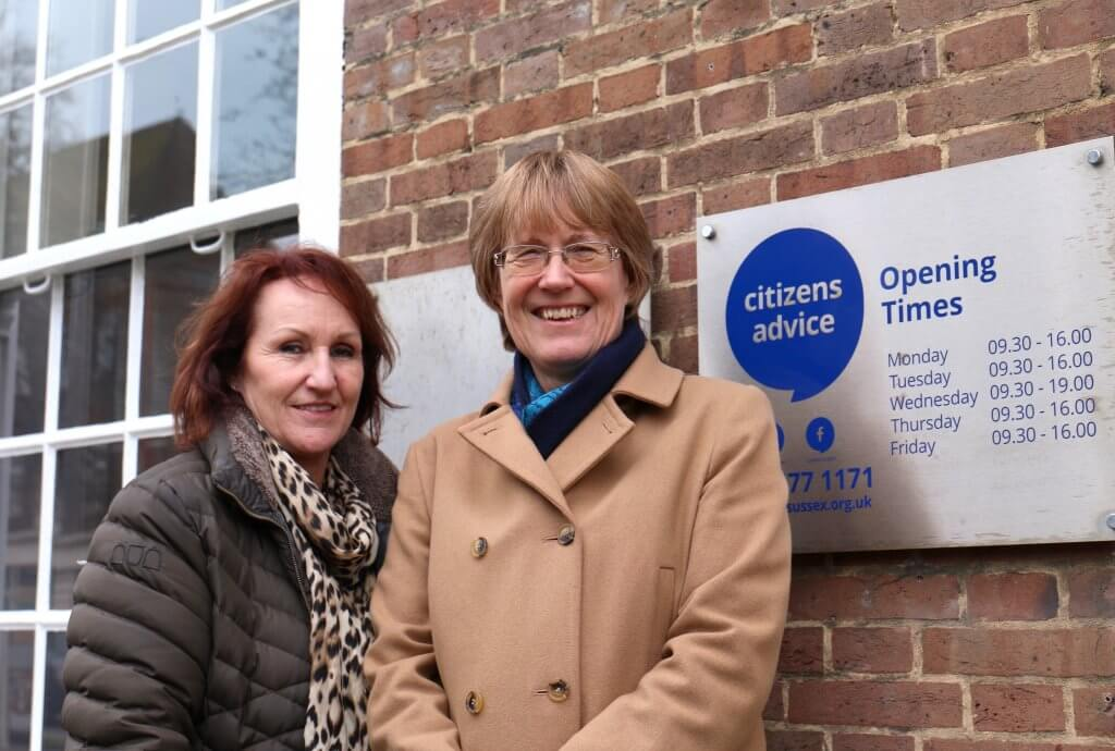 Julie Martin, CEO of Citizens Advice in West Sussex (North, South, East) and Cllr Val Turner outside Citizens Advice Worthing (Worthing Town Hall) - January 2019