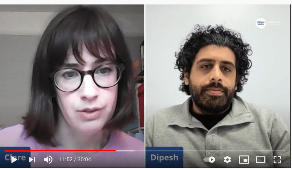 Still image from Citizens Advice Universal Credit live session, showing host Clare and expert Dipesh in conversation.