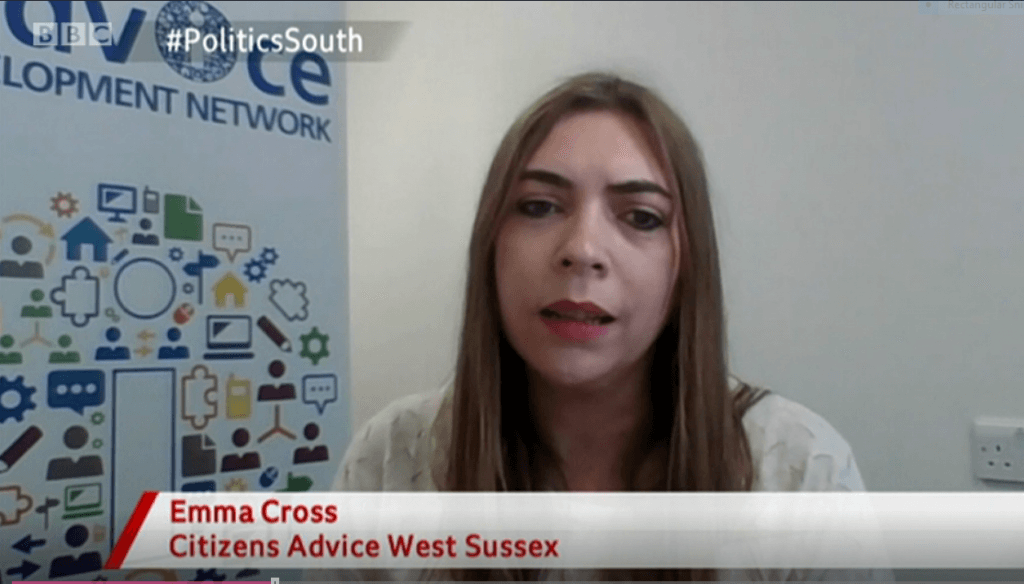 Photo shows Emma Cross, Citizens Advice in West Sussex (North, South, East) CEO, appearing on BBC Politics South